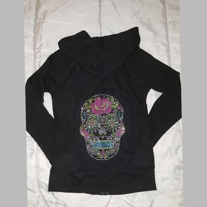 NEW Sugar Skull Rhinestones hoodie waffle knit L